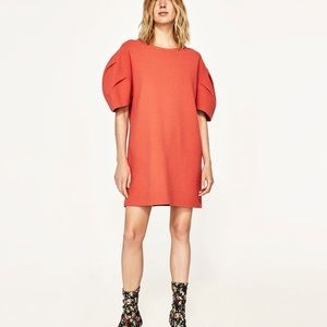 Zara Knit Collection Coral Puffy Sleeve Dress